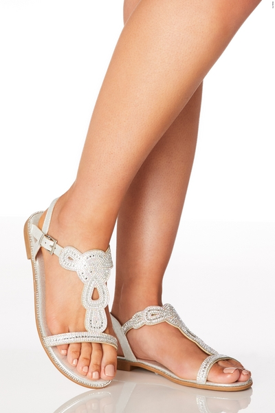 Wide Fit Silver Diamante Flat Sandals